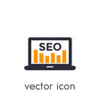 seo icon with laptop and analytics on white vector image vector image