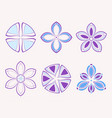 set of 6 symmetric geometric shapes vector image vector image