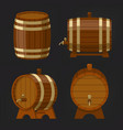 set old wooden wine or beer barrel or oak keg vector image vector image