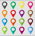set pin icons location sign in flat style vector image vector image