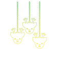 silhouette reindeers heads hanging to merry vector image vector image