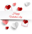 valentine s card with paper letters and hearts vector image