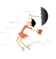 windy day and woman with a handbag and umbrella is vector image vector image