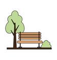 wooden bench tree bush park vector image vector image