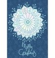 Xmas greeting card with hand drawn snowflake vector image