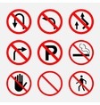 prohibiting signs traffic on the road no smoking vector image