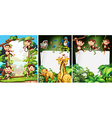 Banner design with wild animals vector image vector image