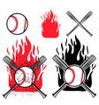 baseball logo on fire background vector image vector image