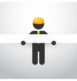 black figure with yellow helmet and white stripes vector image
