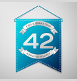 blue pennant with inscription forty two years vector image vector image