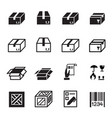 box shipping logistics icons set vector image