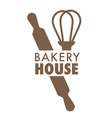 bread bakery house isolated icon whisk and rolling vector image