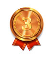 bronze medal with red ribbon 3rd place award vector image vector image