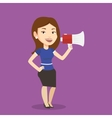 Business woman speaking into megaphone vector image vector image