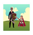 businessman as knight with helmet sword shield vector image vector image
