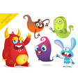 cartoon funny monsters collection vector image vector image