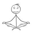 cartoon of man or businessman in yoga lotus vector image