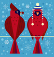 christmas birds card with red cardinals couple vector image vector image