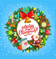 christmas wreath with santa xmas gifts and bell vector image vector image