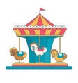 colorful carousel with horses in flat style vector image vector image
