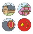 Country China travel vacation places in thin lines vector image