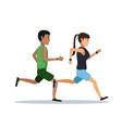 couple running over white background vector image vector image