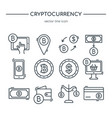 cryptocurrency line icon collection icon set vector image vector image