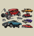 custom cars colorful vintage composition vector image vector image