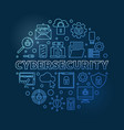 cybersecurity round concept thin line blue vector image