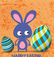 Easter greeting card with bunny and eggs retro vector image vector image