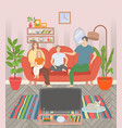 family watching tv sweet home leisure vector image vector image