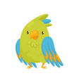 flat icon of cute green parrot cartoon vector image vector image