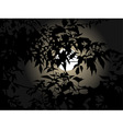 full moon at night through the leaves vector image