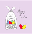 funny easter bunny keeping a basket with eggs vector image vector image