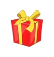 Gift box with ribbon bow icon cartoon style vector image