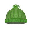 green knitted winter cap vector image vector image