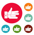 hand abstract icons circle set vector image