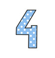 Hand drawn number 4 with polka dots on pastel blue vector image