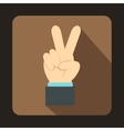 Hand with victory sign icon flat style vector image vector image