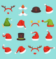 hats of different christmas characters cap of vector image vector image