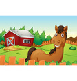 Horse and farm vector image vector image
