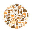 indian food theme set of simple icons in circle vector image vector image