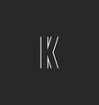 Initial letter K logo creative emblem mockup vector image vector image