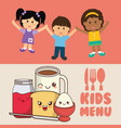 kids menu diet meal healthy vector image