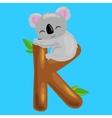 letter K with koala animal for kids abc education vector image