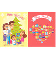merry christmas and family vector image vector image