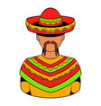 mexican man icon cartoon vector image