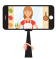 Monopod Selfie with cartoon woman vector image