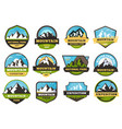 mountain expedition emblems outdoors travel vector image