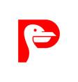 pelican bird logo vector image vector image